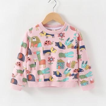 Adorable Animal Patterned Long-sleeve Pullover for Baby and Kid