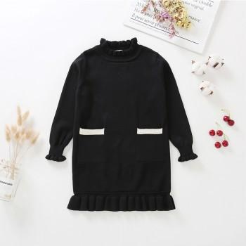 Pretty Solid Knitted Long-sleeve Dress for Girl