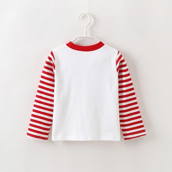 Stylish Christmas Graphic Print Striped Long-sleeve Top for Baby and Kid