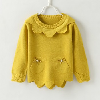 Pretty Solid Pocket design Long-sleeve Sweater for 2-4 Years Girls