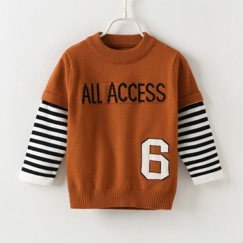 Faux-two Stylish Letter Print Long-sleeve Sweater