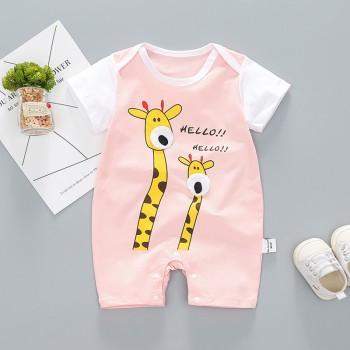 Cute Giraffe Print Short-sleeve Romper for Baby