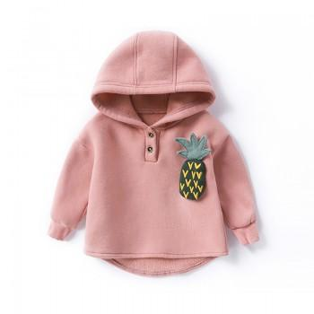 Lovely Pineapple Decor Hooded Pullover for Baby and Toddler