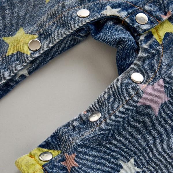 Trendy Star Patterned Denim Jumpsuit for Baby