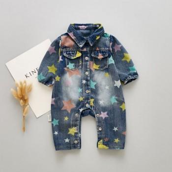 Trendy Star Patterned Denim Jumpsuit for Baby