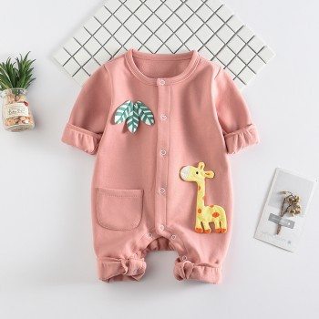 Cute Giraffe and Leaf Appliqued Long-sleeve Jumpsuit for Baby