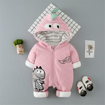 Warm Dinosaur Design Hooded Embroidered Lined Jumpsuit for Baby