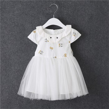 Cute Panda Print Cap Sleeves Tulle Dress for Baby Girl