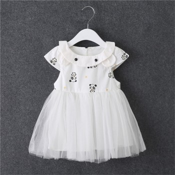 Lovely Panda Print Short Sleeves Tulle Dress for Baby Girl
