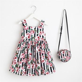 Toddler Girl's Striped Rose Pattern Pleated Strap Dress with Bag