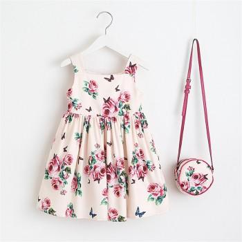 Toddler Girl's Rose Pattern Strap Dress with Bag