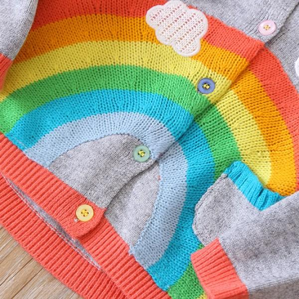 Colorful Rainbow Graphic Cardigan for Girl