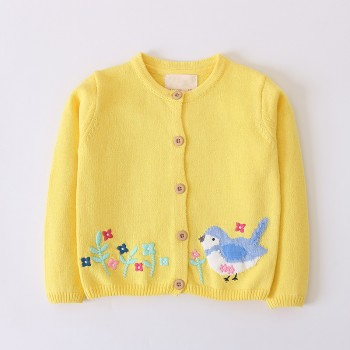 Pretty Knitted Embroidered Bird and Flower Cardigan for Toddler Girl and Girl
