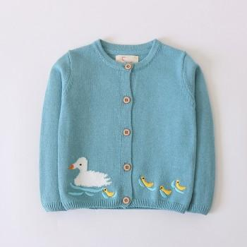 Cute Embroidered Duck Knitted Cardigan for Toddler Girl and Girl