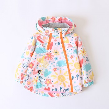 Cute Cloud and Sun Pattern Hooded Fleeced Jacket for Toddler Girl and Girl