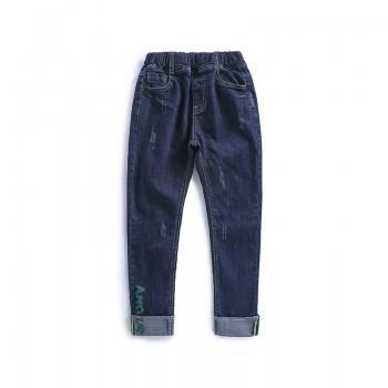 Trendy Solid Letter Print Elastic Waist Jeans for Boy