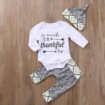 3-piece Printed Long Sleeve Bodysuit, Pants and Hat Set for Baby