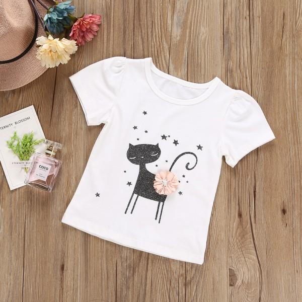 Pretty Cat/Star Print Short-sleeve Tee and Tutu Skirt Set for Baby Girl/Girl