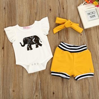 Cute Elephant Print Flounce-sleeve Bodysuit and Shorts Set with Hairband