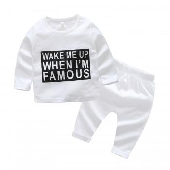 2-piece Cool Long Sleeves Letter Top and Pants in White for Baby Boy