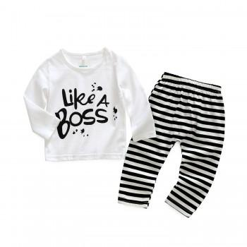 2-piece LIKE A BOSS Top and Striped Pants for Baby Boy