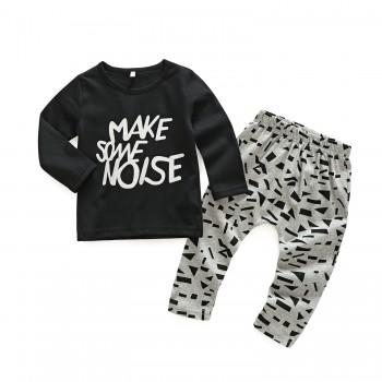 2-piece Comfy Letter Top and Graphic Pants for Baby Boy