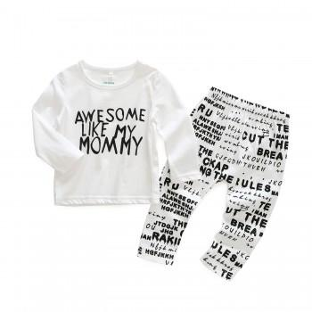 2-piece AWESOME MOMMY Top and Letter Pattern Pants for Baby Boy