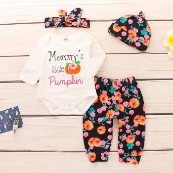 4-piece Pretty Pumpkin Print Romper, Floral Pants, Hat and Headband Set for Baby Girl
