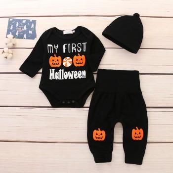 3-piece Cool Pumpkin Print Long-sleeve Romper, Pants and Hat Set for Baby Boy