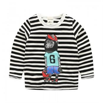 Funny Monkey Print Stripes Long-sleeve Pullover for Baby and Kid