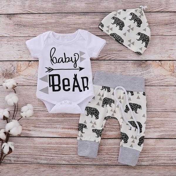3-piece 'HAPPY BEAR' Short-sleeve Cotton Bodysuit, Pants and Hat Set for Baby