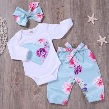 Pretty Floral Bodysuit and Pants and Headband Set for Baby Girl