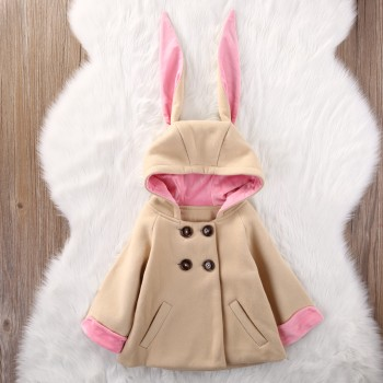 Cute Rabbit Ears Woolen Hooded Coat for Baby Girl
