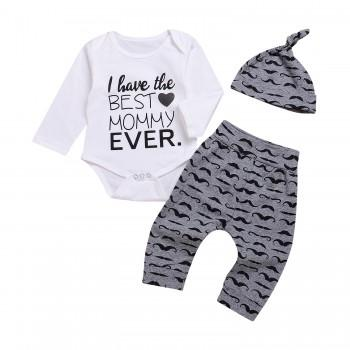 3-piece Cool Letter Print Bodysuit, Moustache Pattern Pants and Hat Set for Baby