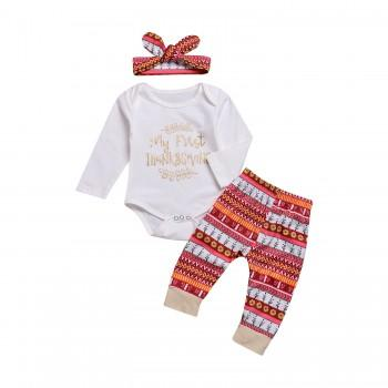 Sequin Letter Bodysuit Geo Pattern Pants and Headband for Baby Girl