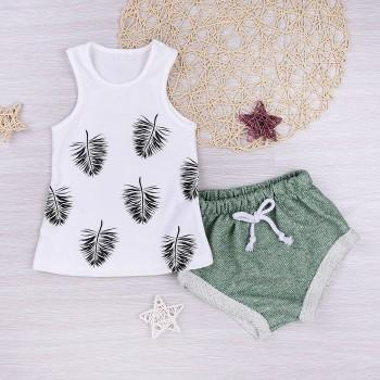 Casual Leather Print Vest and Shorts Set for Baby