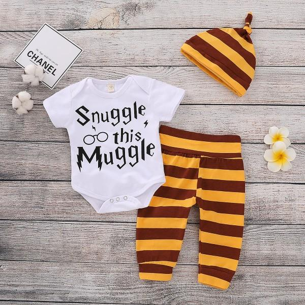 3-piece Letters Print Bodysuit Stripes Pants with Hat for Baby