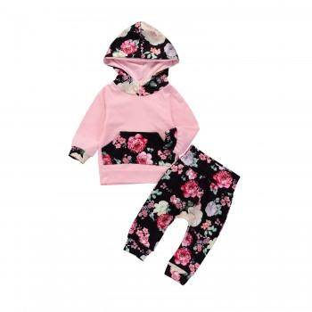 2-piece Pink Floral Hooded Long Sleeves Top and Pants for Baby Girl
