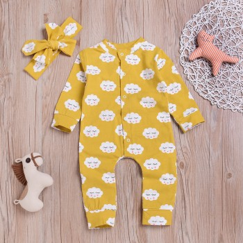 2-piece Cute Cloud Print Jumpsuit and Headband for Baby Girl