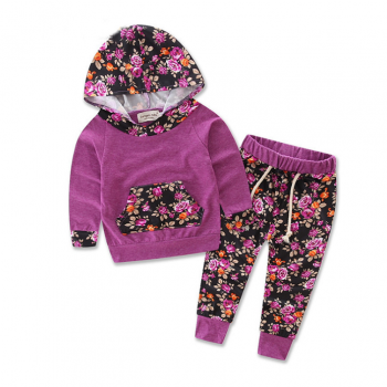 2-piece Floral Hooded Long Sleeves Top and Pants Set for Baby Girl