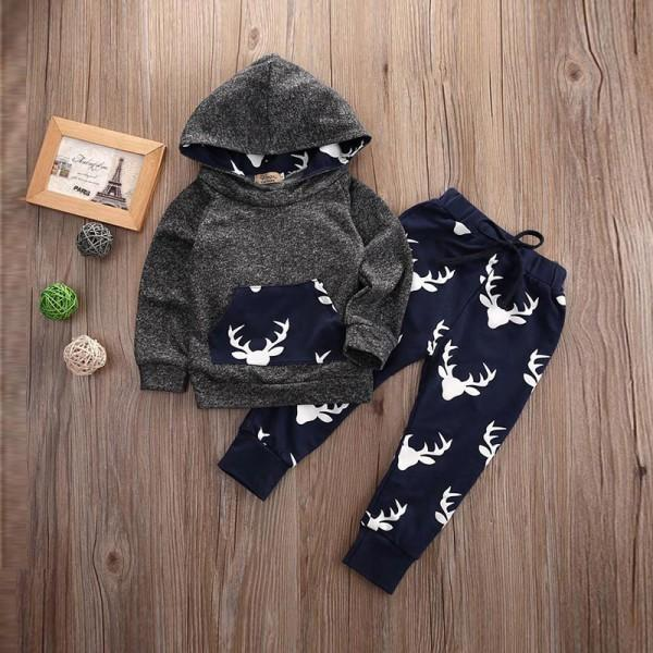 2-piece Reindeer Print Hooded Top and Pants in Grey for Baby