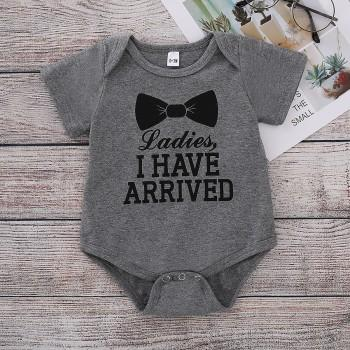Comfy Bowknot Print Letter Short Sleeves Bodysuit for Baby
