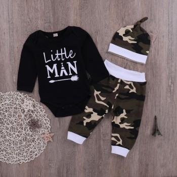3-piece Long Sleeves Letter Bodysuit Camouflage Pants and Hat for Baby Boy