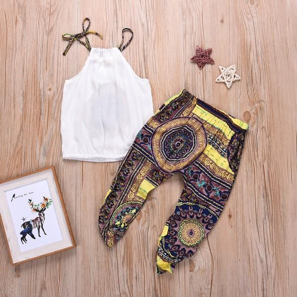 2-piece Pretty Boho Halter Top and Pants for Girls