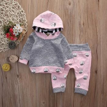 2-piece Cute Cloud and Drops Print Hooded Top and Pants for Baby Girl