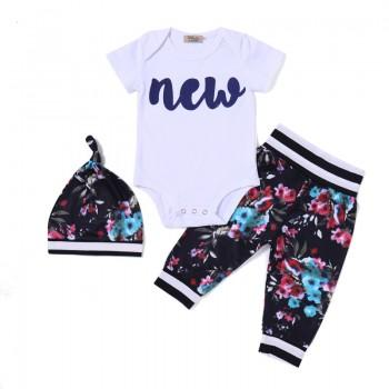 3-piece Short Sleeves NEW Bodysuit Floral Pants and Hat for Baby