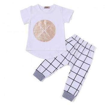 2-piece Casual White T-shirt and Plaid Pants for Baby