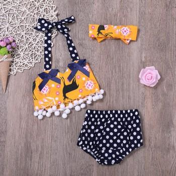 Polka Dotted 2-piece Halter Swimsuit and Headband Set for Baby Girl