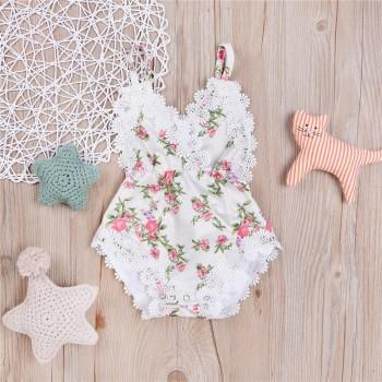 Sweet Floral Lace Trimmed Strap Bodysuit for Baby Girl