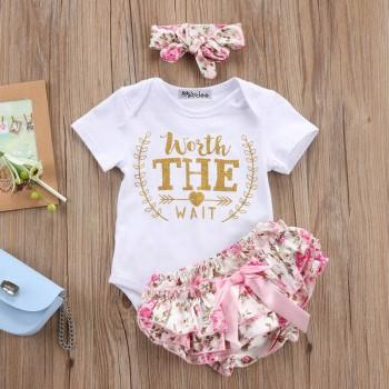 3-piece Glitter Letter Bodysuit Ruffled Floral Shorts and Headband for Baby Girl